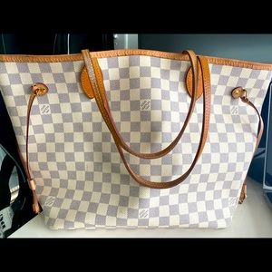 LV Neverfull White w/ Pink Lining